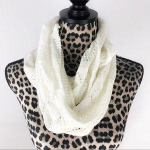 Forever 21 Crochet White Infinity Scarf
